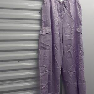 JOHNNY WAS SATIN pants lilac sz. XL